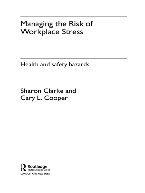 Download Ebook Managing the Risk of Workplace Stress by Sharon Clarke Pdf