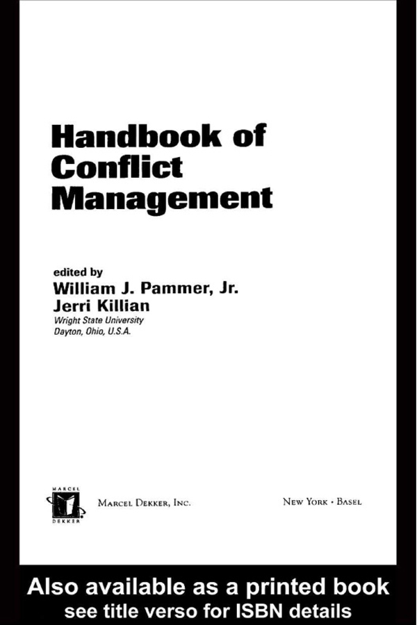 Download Ebook Handbook of Conflict Management by William J. Pammer Pdf