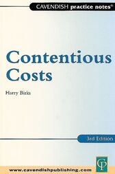 Practice Notes on Contentious Costs by Harry Birks