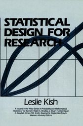 Statistical Design for Research by Leslie Kish