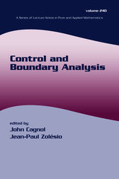 Control and Boundary Analysis by John Cagnol