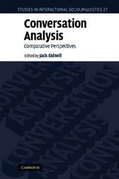 Conversation Analysis by Jack Sidnell