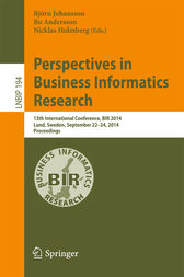 Perspectives in Business Informatics Research by Björn Johansson